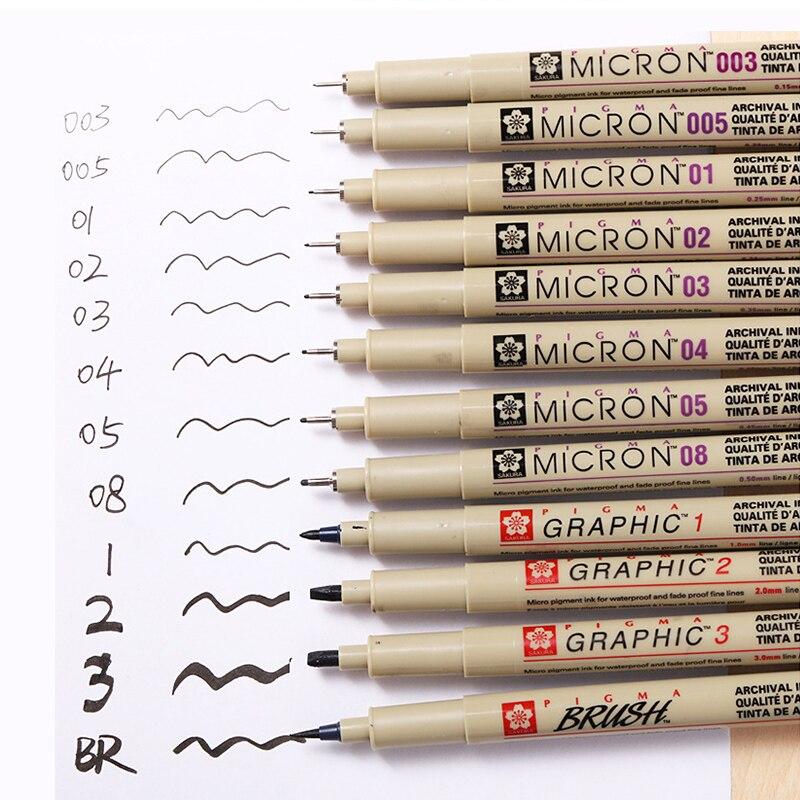 1Pc Pigma Micron Porous Point Pen Soft Brush Drawing Pen Liner Fineliner Sketch Needle Pen 005 01 02