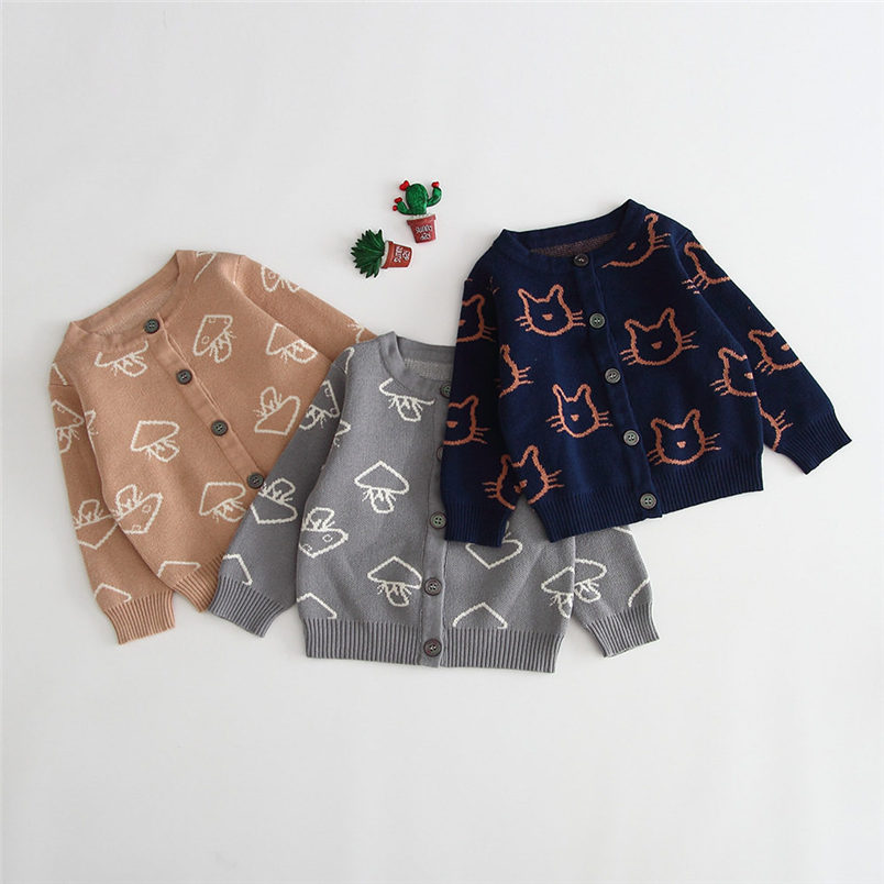 Sweater Little Clothing Outwear Knitted Toddler Autumn Winter Cartoon Cotton Boys 0-24m