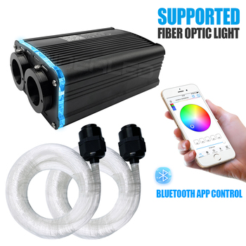 RGBW 36W 0.75mm LED Fiber Optic Engine Driver double head Light Source with Bluetooth APP Controller for all kinds Fiber Optics wholsale rgb 16w black led fiber optic engine driver with 20key rf remote controller for all kinds fiber optics