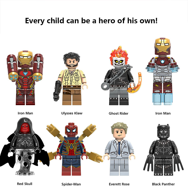 Legoed Model Super Hero Iron Man Ghost Rider Spider Man Black Panther Model Building Kit Blocks Wonder Woman FigureS For Kids