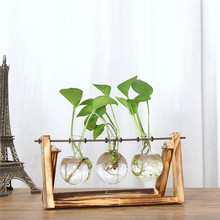 Hydroponic Vintage Flower Vases Plant Vase Creative Wooden Frame Decorative Home Bonsai Decor Transparent Glass Tabletop Plants