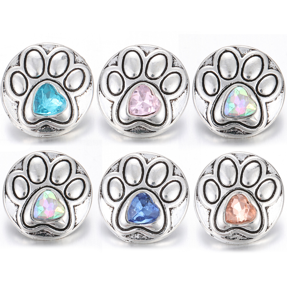 6pcs/lot Snap Jewelry 18mm Snap Buttons Samples Mixed Designs Colors Rhinestone Paw Flower Snaps Fit Snap Button Bracelet(China)