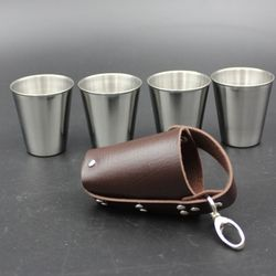 4Pcs 30/70ML Stainless Steel Polished Wine Drinking Shot Glasses Cup With Leather Cover Case Bag Barware For Home Kitchen Bar
