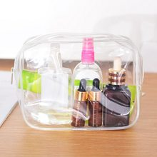 Transparent Environmental Waterproof Zipper Bag Portable Cosmetic Makeup Bag Clear Toiletry Carry Pouch Travel Wash Case No Logo(China)