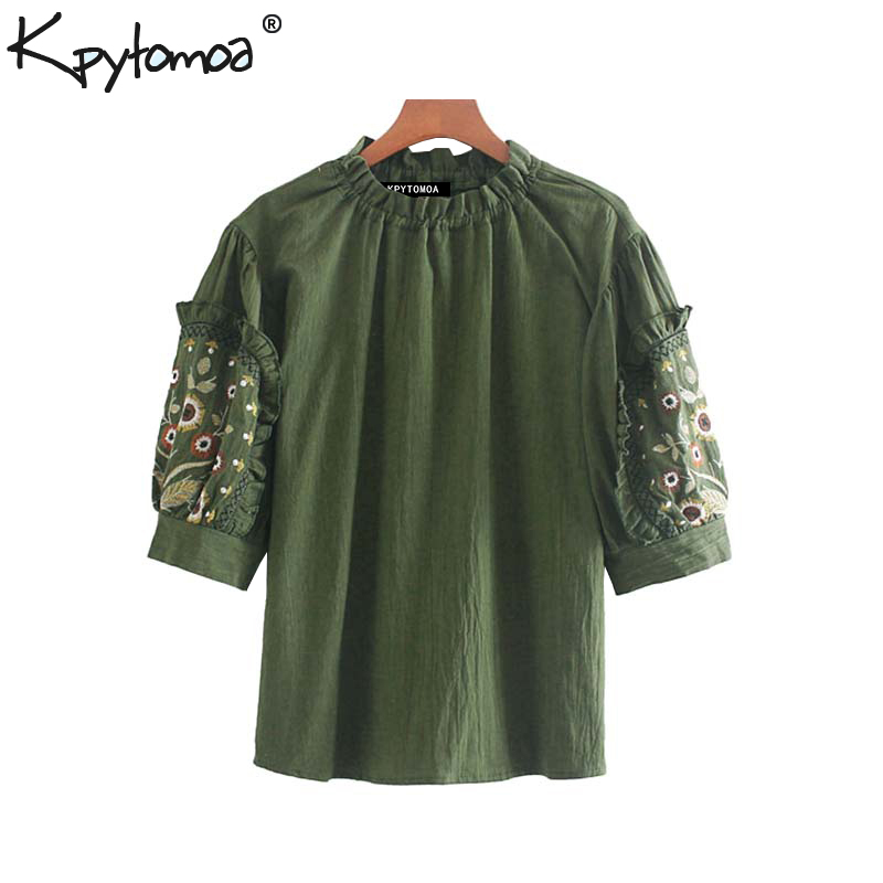 Vintage Stylish Floral Embroidery Ruffles Blouses Women 2020 Fashion O Neck Short Sleeve Ladies Shirts Blusas Mujer Chic Tops