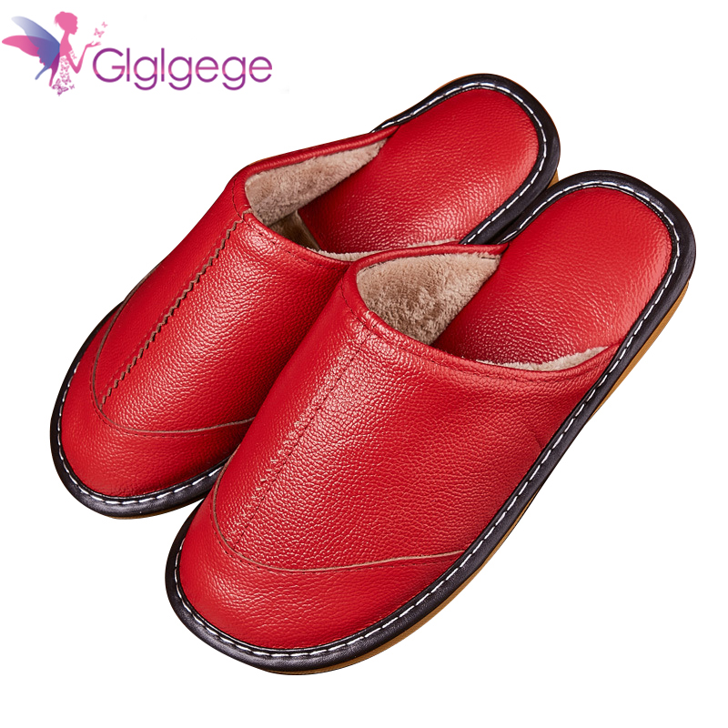 Promo 2019 Home Slippers Women Autumn Winter Leather Slippers Comfortable Slippers Flats Shoes Non-slip Soft Floor Sneakers Couple New