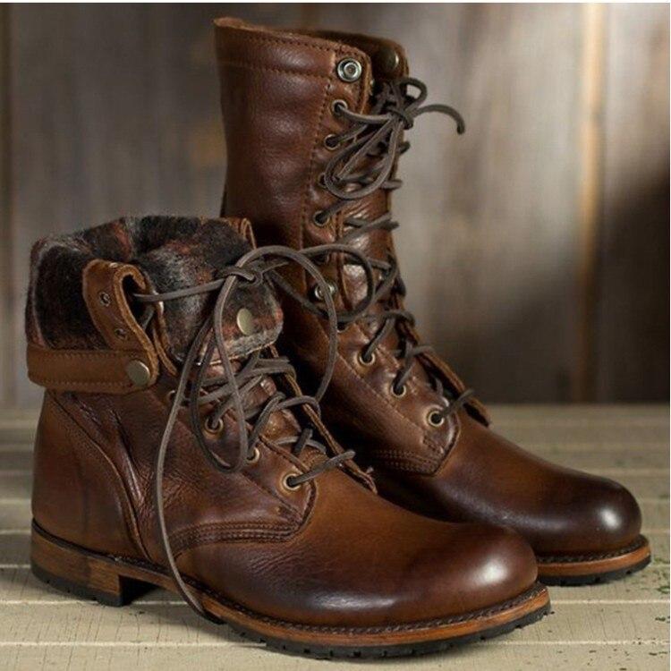 Winter Shoes Men Boots Warm Fur Genuine Leather Boots Men Non-slip Winter Boots Ankle Boots Men Winter Footwear Men Shoes Winter