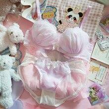 Underwear-Set Pink Japanese Purple Kawaii Panties-Set Embroidery Push-Up Sexy Women Princess
