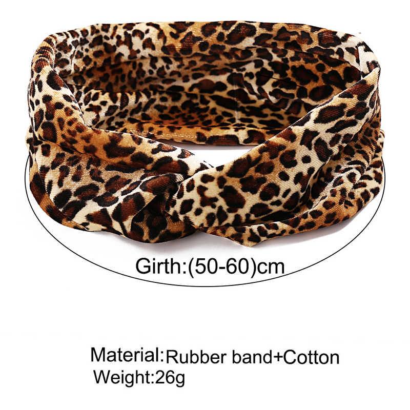 ยืดหยุ่นถักCROSS Leopard Headband Twist Knotผมโยคะกีฬาเหงื่อ-ดูดซับTurban Hairbandแฟชั่นอุปกรณ์เสริมผม