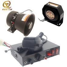 цена на Universal Car Horn Police Siren 12V 24v Warning Alarm 400W Loud Speaker Megaphone Sond 200W Siren Speaker MIC System Train Horn