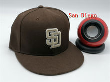HS 2021 San Diego Fitted Hats Letter SD Cool Baseball Caps Adult Flat Peak Hip Hop Brown Fitted Cap Men Women Full Closed Gorra