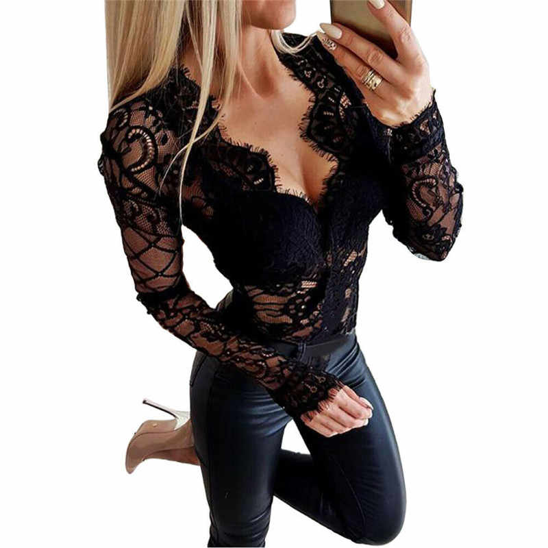 Black V-neck lace Bodysuit Women Backless Transparent Sexy Body Jumpsuit Rompers 2020 Clubwear Fit Slim Bodysuits Slim Overalls