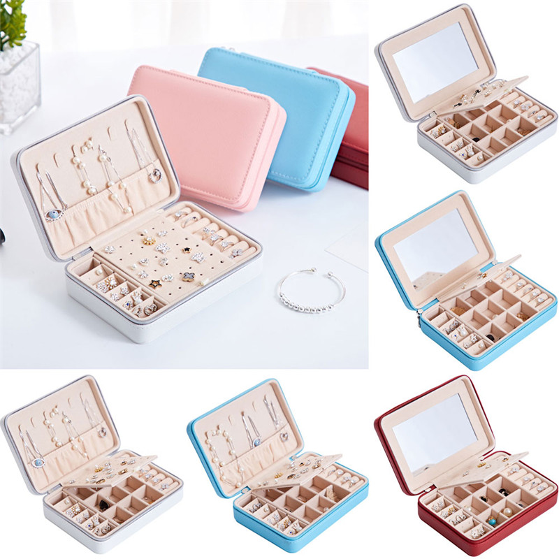 Womens Portable Travel Jewelry Box Organizer PU Jewellery Ornaments Case Storage Box Holder Case Show Storage Ring