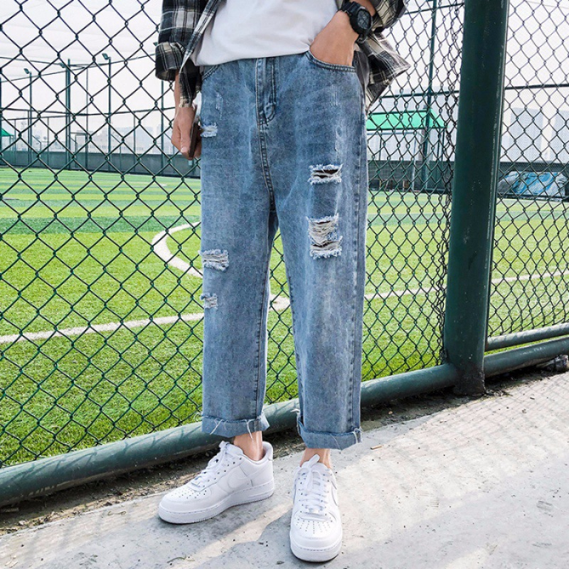 Men Capri Jeans Popular Brand Loose Straight Summer Thin Section Ripped Pants Korean-style Trend