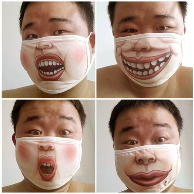 4Pcs Anti Dust Funny Mouth Mask Anti Flu Cotton Cartoon Face Masks Kit 85WB