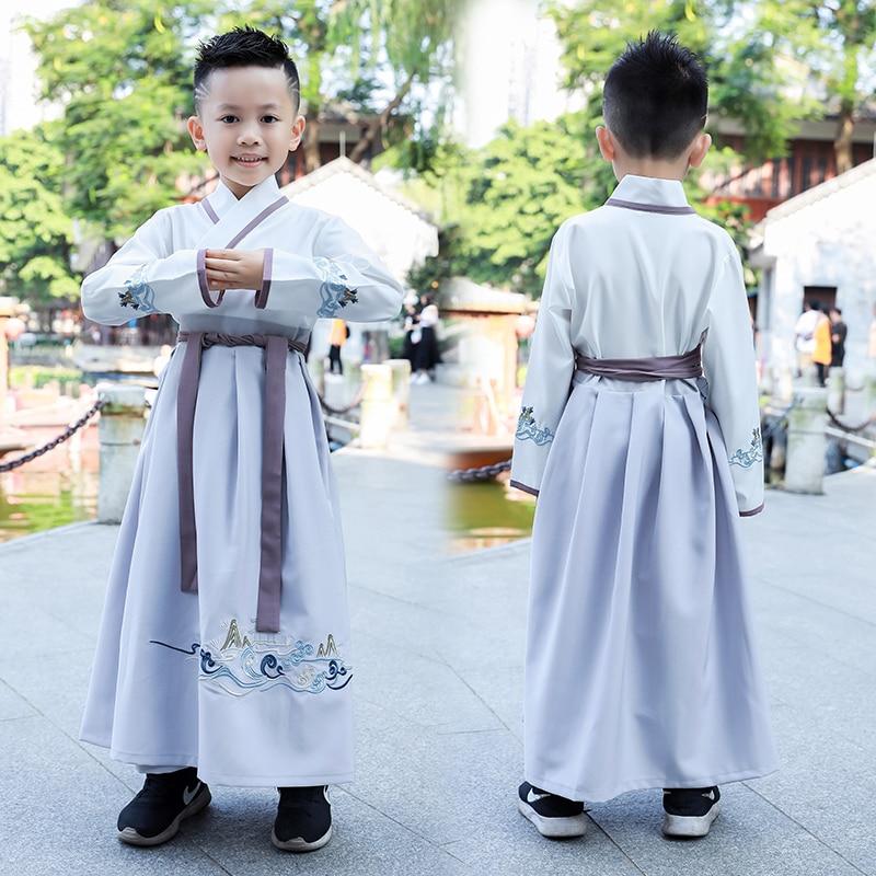 Chinese Ancient Kids Girl Boy Hanfu tang Costume Dynasty Photographic Dress