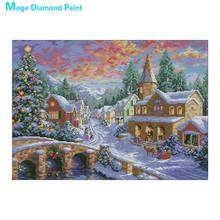 christmas scenic Moge Diamond Painting Cross Stitch portrait snow Full Round New DIY Mosaic 5D Embroidery simple home decorativ