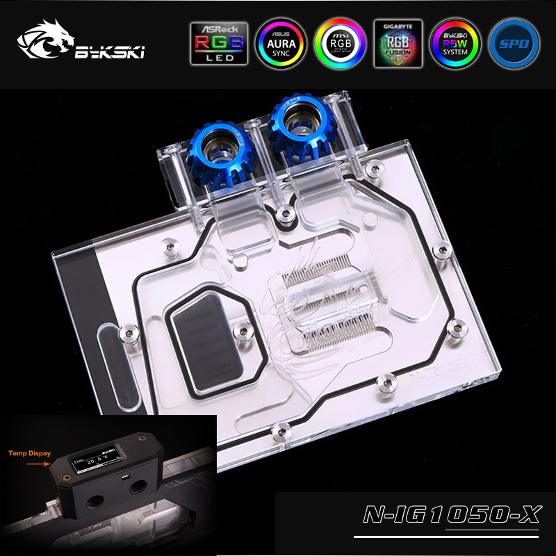 Bykski N-IG1050-X VGA Full Cover Water Cooling Block with LED for Colorful Igame GTX 1050Ti U-4G Graphics card image