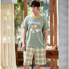 Men's Sleepwear Shorts Summer Cute Casual Kawaii Suit Kitty Round-Neck Plaid Loose