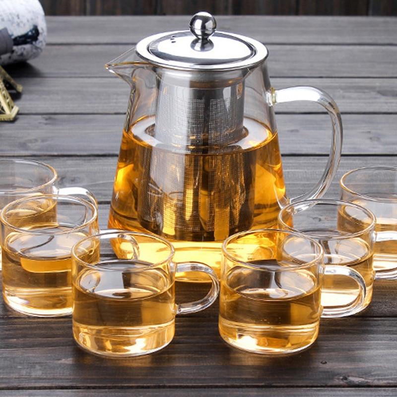 450ML/550ML/750ML/950ML/1300ML Glass Kettle Heat Resistant Teapot With Filter Home Office Borosilicate Tea Set Glass Maker