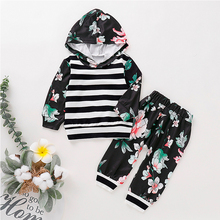 Spring Autumn Children Clothing Sets Baby Boys Girls Floral Print Striped Hooded Tops Pants Outfits Toddler Kids Fashion Sets