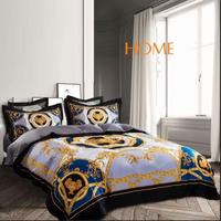 High end French Italy Design Yellow Rococo Print 4PCS King Queen Size Quilts White Blue Gold Wedding Luxury Bedding Sets