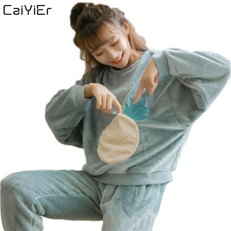 Caiyier Women Cute Pineapple Print Flannel Pajama Sets Winter Thick Warm Nightgown Girl Soft Long Sleeve Sleepwear Pijama Mujer