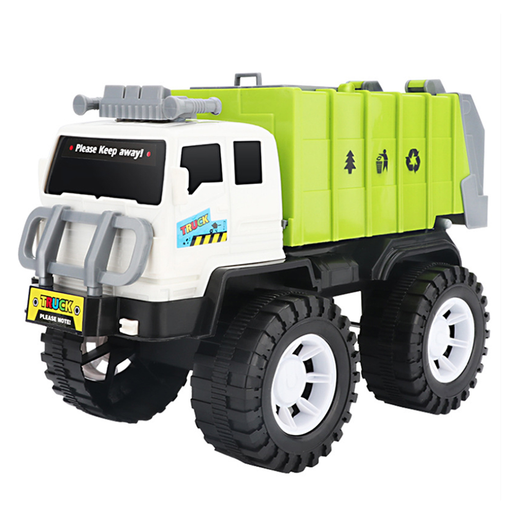 New Hot Children Alloy Car Model Diecast City Cleaning Garbage Truck Sound Light Pull Back Toys Gift With 4 Waste Recycling Bins