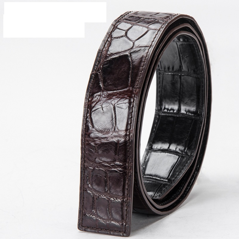 Double-sides Designer Men's Chic Belts Authentic Real Crocodile Belly Skin Fancy Waist Strap Genuine Alligator Leather Male Belt