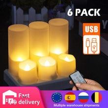 Мерцания Перезаряжаемые led лампы в форме свечи имитации пламени