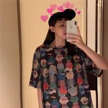 Женская футболка с коротким рукавом хлопковая свободная средней