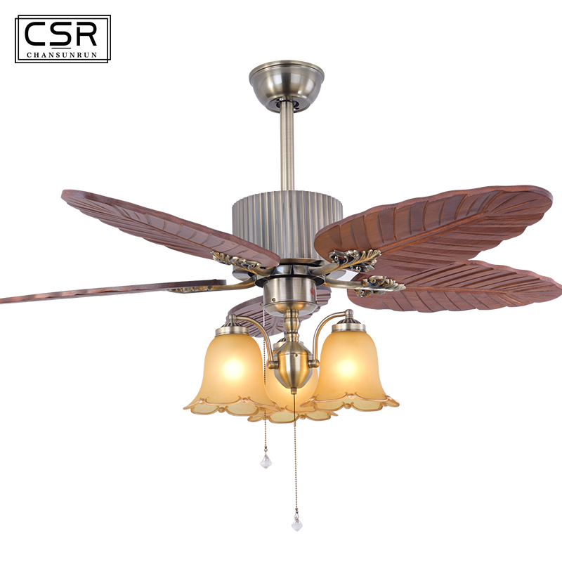 Sculpture sur bois feuille rétro ventilateur de plafond
