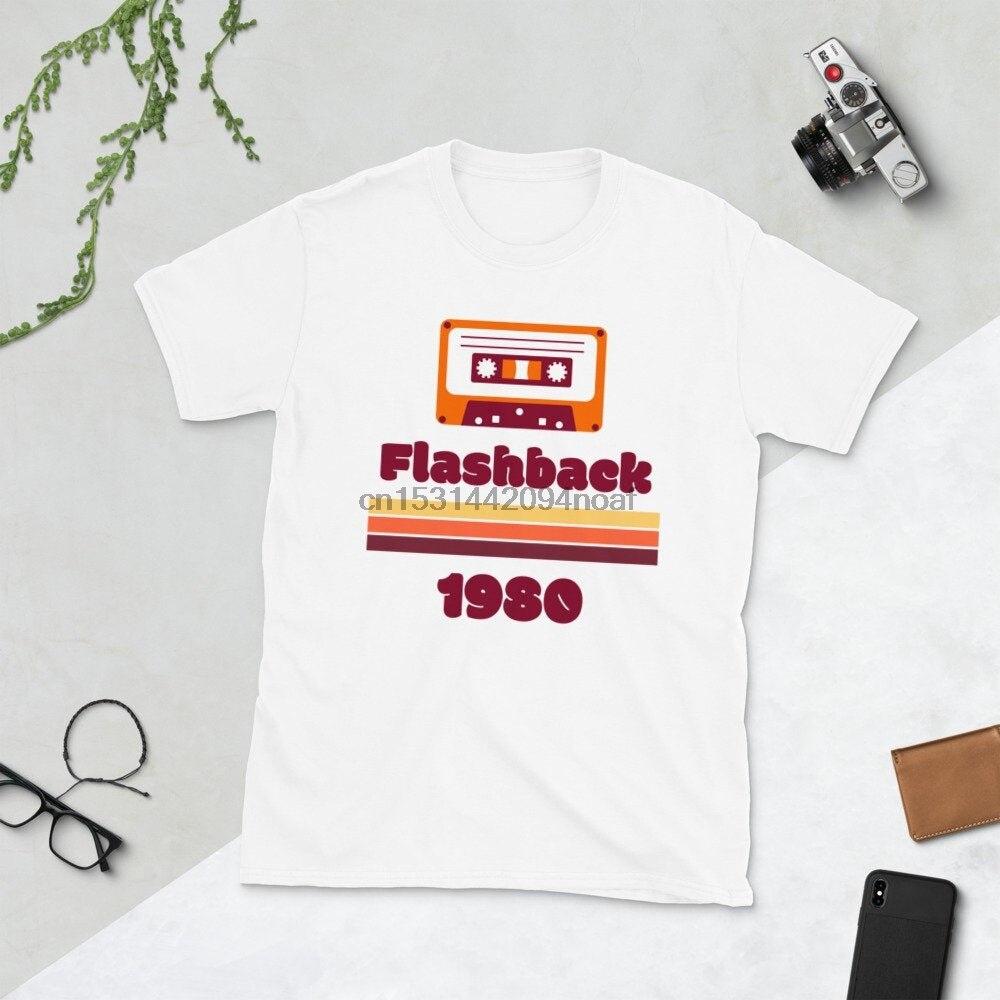Белая футболка унисекс Flashback 80 для мужчин и женщин в стиле ретро