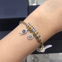 UMGODLY Luxury Brand Gold Color Lucky Fish Open Cuff with Sliding Compass Charm Bangle Bracelet Women Jewelry