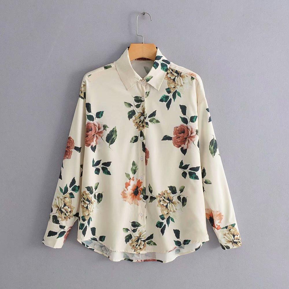 2019 Women Vintage Fashion Flower Print Casual Blouse Shirts Women Long Sleeve Elegant Blusas Feminina Business Chic Tops LS4084