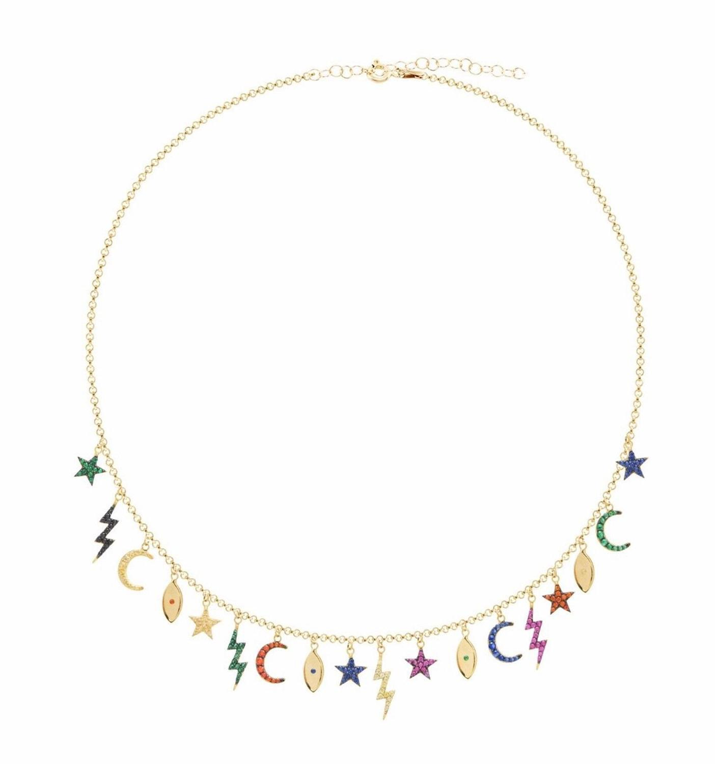 35+10cm choker women Necklace Lover's Gold Color Moon & Star eye lightning Pendant Necklace Engagement Jewelry