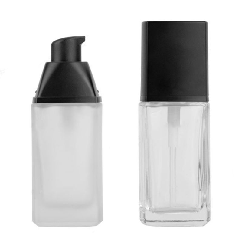 30ml Frosted Glass Refillable Empty Bottle For Lotion Liquid Body Cream Cosmetic Foundation Container Vials With Press Pump X5XC