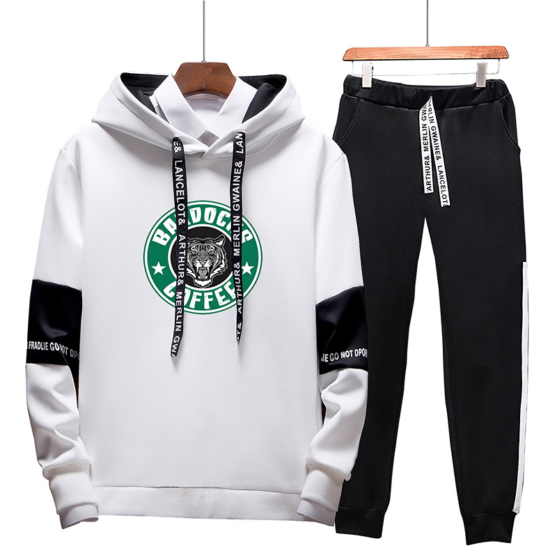 Hoodie Suit Men Korean-style Trend INS Handsome Students Sports Two-Piece Hoodie 2019 Autumn New Style