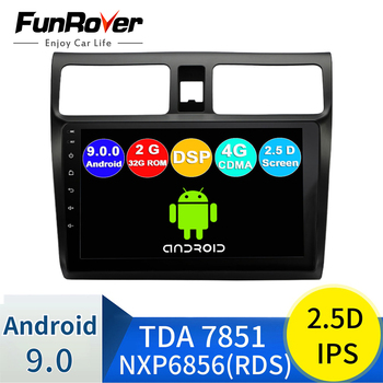 FUNROVER android 9.0 2.5D+IPS car radio multimedia player For Suzuki Swift 2003-2010 dvd gps navigation stereo auto radio DSP BT image