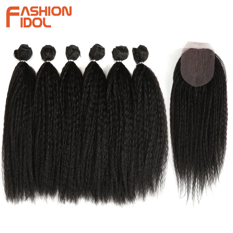 FASHION IDOL Afro Kinky Straight Hair Weave 6Bundles With Closure Ombre Synthetic Hair Extension 7pcs/Lot 16inch For Black Women