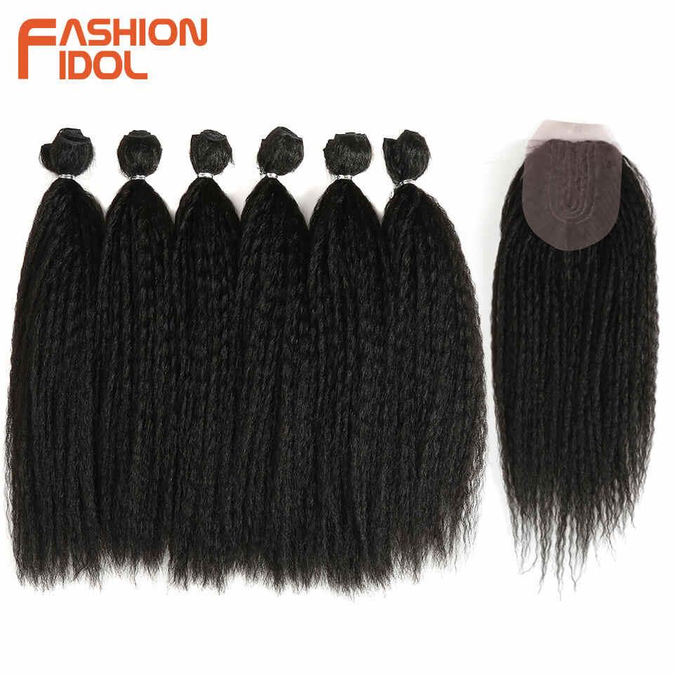MODE IDOL Afro Verworrene Gerade Haarwebart 6Bundles Mit Closure Ombre Synthetische Haar Verlängerung 7 teile/los 16inch Für schwarz Frauen