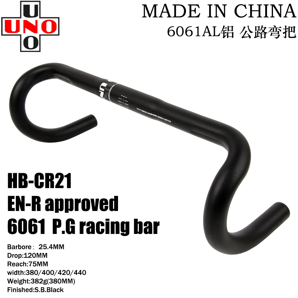 UNO Alloy Bicycle Handlebar Road Bike Racing Drop Bar 31.8*400//420//440mm Black