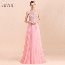 ¡Novedad! Vestido De noche largo De cuello Halter rosa De 2020 peras y cristal De una línea De encaje vestidos De fiesta con cremallera Vestido De Novia