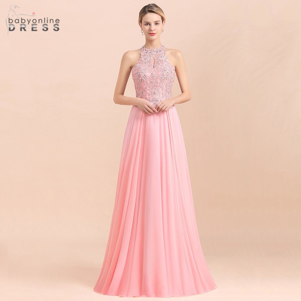 New Arrival Pink Halter Long Evening Dresses 2020 Pears And Crystal A Line Lace Party Gowns With Zipper Vestido De Novia