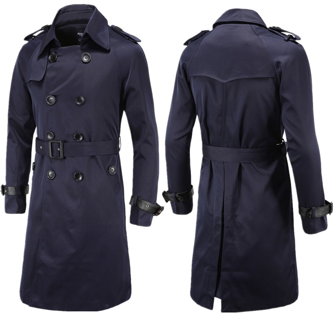 Aowofs Fashion Men'S Wear  Spring Clothing Boutique Europe And America Long Slim Fit Double Breasted Trench Coat MEN'S Outer