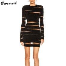 Bevenccel сексуальное Сетчатое платье с длинным рукавом Новое поступление черное Сетчатое лоскутное открытое облегающее Бандажное платье элегантное вечернее платье