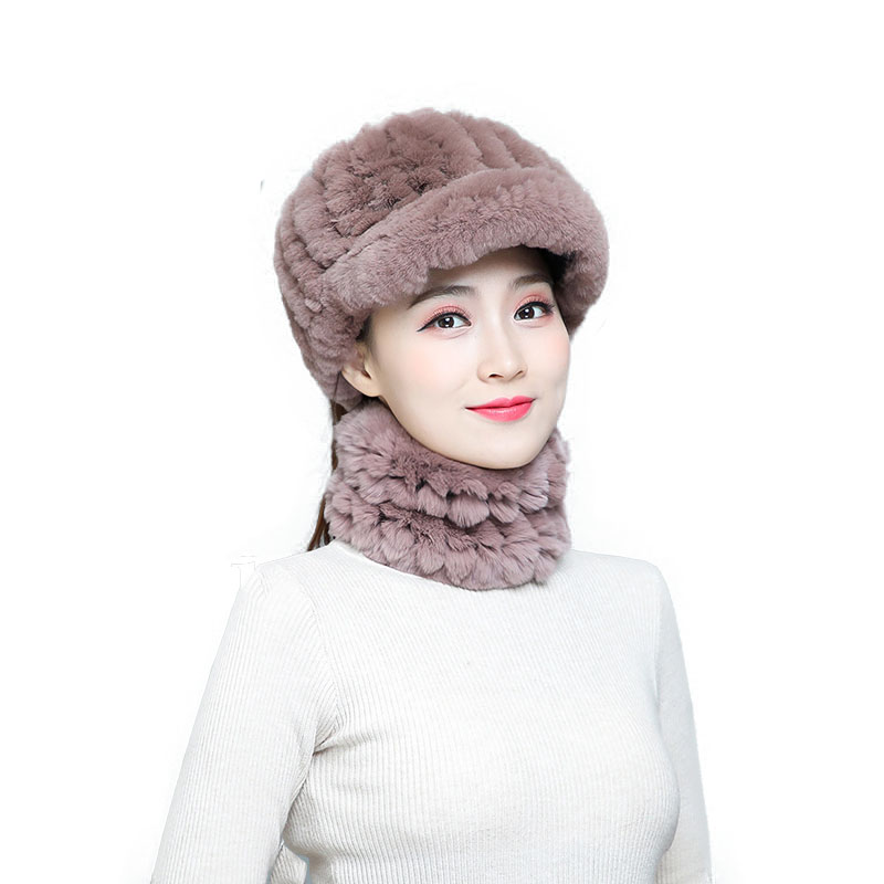 2019 Fur Scarf Hat Set Stylish Warm Openwork Hat And Close-Fitting Scarf Soft And Smooth Rabbit Fur Scarf Hat