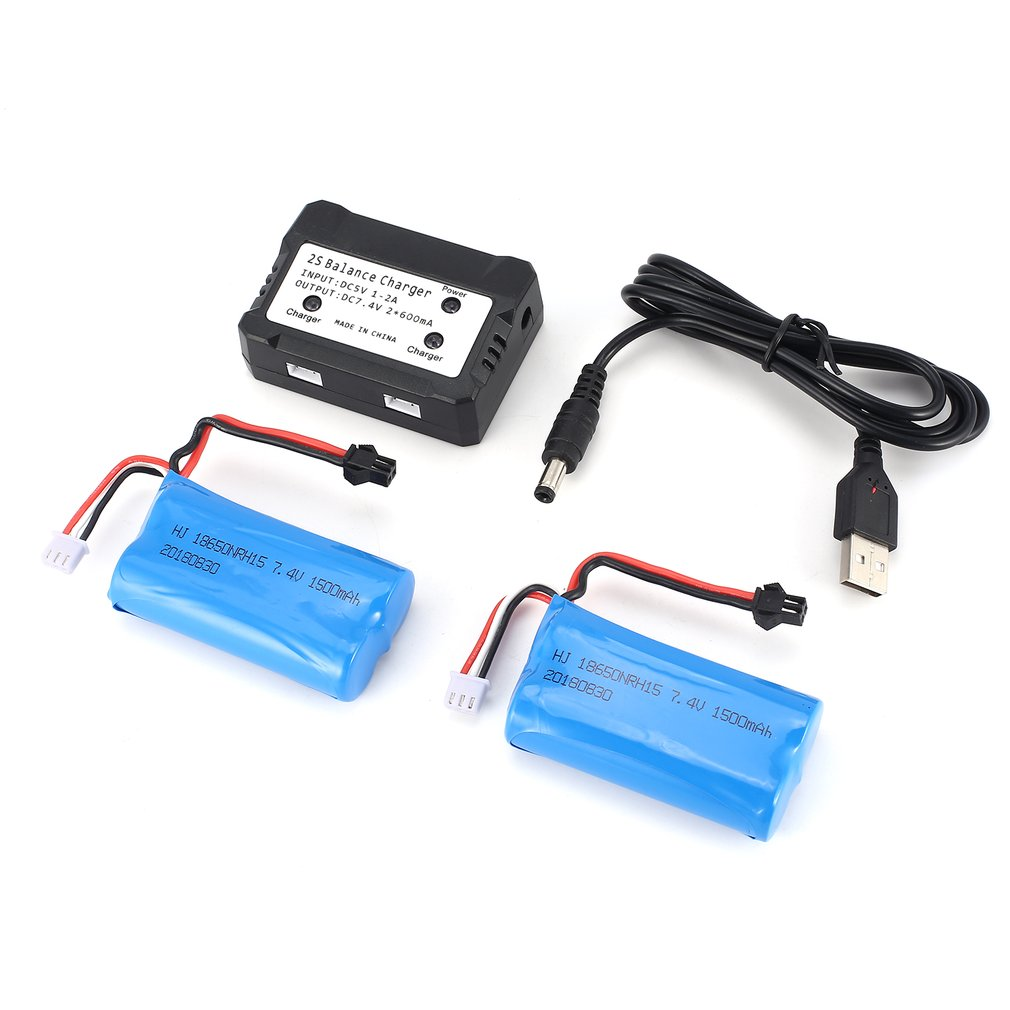 2pcs <font><b>7.4V</b></font> <font><b>1500mAh</b></font> SM Plug Rechargeable Li-ion <font><b>Battery</b></font> with 2 in 1Charger for RC Boat Skytech H100 Syma Q1 Toy Parts RC <font><b>Battery</b></font> image
