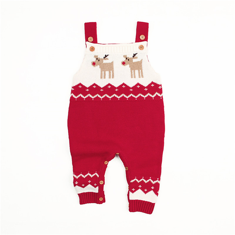 Newborn Infant Unisex Baby Boys Girl Xmas Deer Clothes Knitted Long Sleeve Casual   Romper   Jumpsuit Outfit Christmas Costume Set