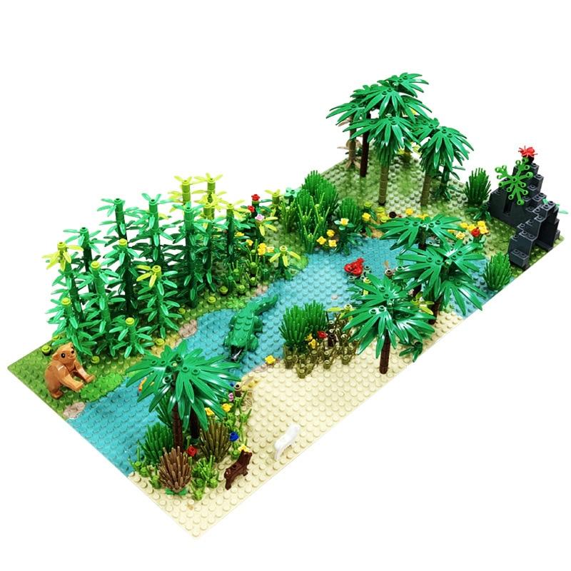 Rainforest Animal Grass Tree Building Blocks With Base Plate City MOC Accessories Parts DIY Compatible Legoinglys